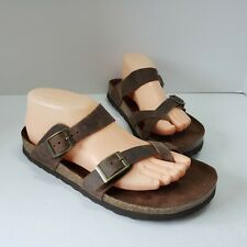 Mountain Sole Hollie Leather Brown Slip On Buckle Women's Size 9 Sandals NWOB