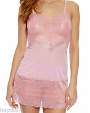 WACOAL 814191 MORNING GLORY PINK / LUREX EMBRACE LACE Semi SHEER CHEMISE  LARGE