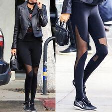92947fe30b3 Women Mesh Yoga Pants Barre Stirrup Leggings Active Gym Workout Running  Sports O