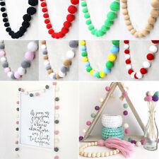 30Pcs Wool Felt Balls Handmade Garland Pom Pom Hanging String Home Decor .Crafts