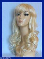 Perruque blonde ondulée wavy longue synthétique top qualité taille unique