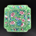 Antique Chinese Canton Enamel Pin Tray Green Pink Butterfly Hand Painted