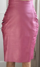 Emanuel Ungaro Parallel Pink, 100% Leather, Ruched Skirt Size 4,6,8