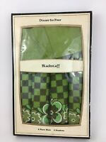 Vintage Blackstaff 1960s Irish Linen Set 4 Napkins Placemats Flower Green Check