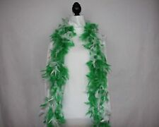 GREEN & WHITE Feather Boas Wholesale 6 Feet 60 grams Best Price - 1920's Party