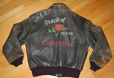 Vintage AVIREX Type A-2 SWEETEST ROSE Of TEXAS Nose Art Flight BOMBER Jacket L