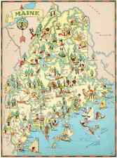 Canvas Reproduction Vintage Pictorial Map of Maine Print Ruth Taylor 1935