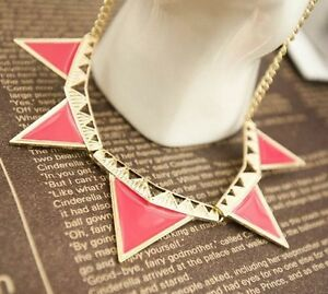 Women Jewelry Necklace Fashion Trendy Triangle Shape Pendant Chunky Collar Party