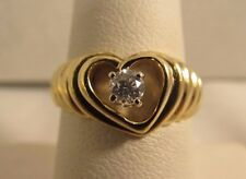 14K Solid Gold Designer Diamond Heart Ring - .20 CT - Size 7.25  #R209