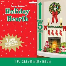 Christmas Fire Place Wreath Holiday Hearth Plastic Scene Setter Vinyl Hanging BN
