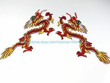 "golden red Chinese dragon pair 12"" embroidery iron on patch cheap craft supply"