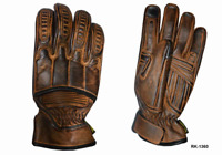 Mens TAN Leather Motorcycle Full Finger Gloves 8193
