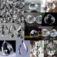 5/10/50x Clear Crystal Glass Prisms Parts Chandelier Hanging Pendant Beads Decor