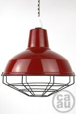 Industrial enamel lamp shade cage guard wire pendant cloth cord onoff light red
