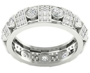 Eternity Wedding Ring Round Diamond I1 G 2.00 Ct 14K White Yellow Rose Gold