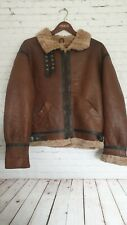 VTG Pilot Aviator Bomber Flying Leather Sheepskin Jacket Men's Brown