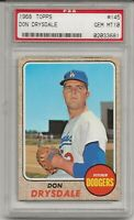 1968 TOPPS #145 DON DRYSDALE, PSA 10 GEM MINT, HOF, LOS ANGELES DODGERS, L@@K !
