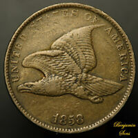 1858 Small Letters FLYING EAGLE CENT 1c , 112620-04E Free shipping!