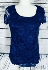 Isaac Mizrahi Women's Medium Blouse Blue Short Sleeves Lace Mesh Overlay Lined
