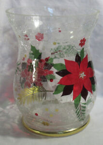 Yankee Candle Crackle Large Jar Holder Clear CRACKLED POINSETTIA Christmas new