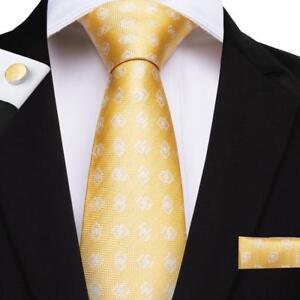 Pure Silk Neck Tie Cufflink & Handkerchief Set Yellow with White Geometric Weave