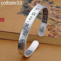 999 fine silver Open bracelet women Om Mani Padme Hum woman bangle unisex gift