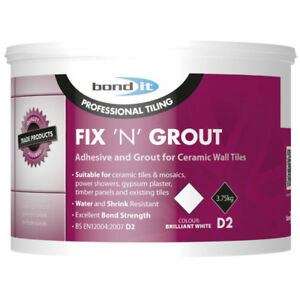 Bond It 1.5kg Fix N Grout Tile Adhesive Internal Use Ideal For Showers and Wet