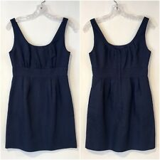 J. Crew Allura Shift Dress Navy Superfine Cotton Pockets Career 4P
