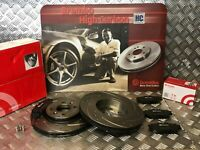 FRONT BREMBO DRILLED & GROOVED BRAKE DISCS & PADS FIT RENAULT CLIO SPORT 172 182