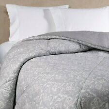 The Seasons Collection Flannel Paisley Reversible Twin Comforter in Grey