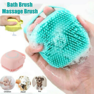 UK Silicone Bath Brush Body Exfoliator Soft Shower Shampoo Container Comb Scalp