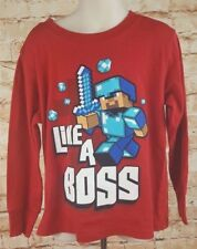 Minecraft Shirt Youth Boy Size XS Long Sleeve New Without Tags Diamond Sword Red