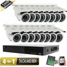 16CH All-in-1 H.265 DVR 5MP 4-in-1 960H Camera System Bullet IP66 Security USB