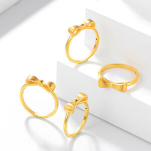 1pcs Real 24K Yellow Gold Ring For Women Bow-knot Enagagement Wedding Gold Ring