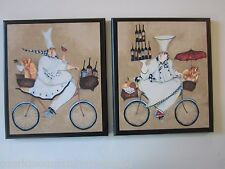 Chefs Kitchen wall decor signs fat chef on bicycles 2 pictures Beige, French