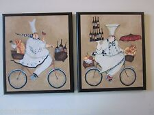 Chef Kitchen wall decor signs fat French Chefs on bicycles 2 pictures plaques