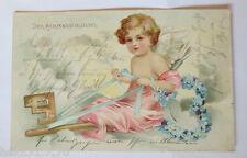 """"""" ANGELO, Chiave, fiori, Freccia """" 1903, Cartolina Rilievo (33282)"""