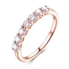 Prong Setting 1ct Genuine Flawless Moissanite Band Solid 14K Rose Gold Fine Ring