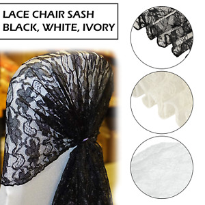 Lace Bow Sash for Chair Cover Sashes For Wedding Banquet Party Bow Wedding Decor