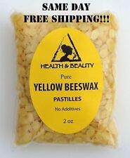 YELLOW BEESWAX BEES WAX ORGANIC PASTILLES BEADS PREMIUM 100% PURE 2 OZ