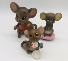 3 Josef Originals Mouse Village Mice Red Vest with Cheese Baby Eating Skateboard