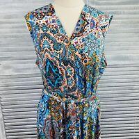 NWOT Blue Illusion Dress Size M Multicoloured Boho Paisley Sleeveless V Neck
