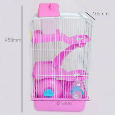 Pet Supplies Hamster Cage 3-Tier Mouse House Mice Rat Castle Habitat Bottle Tube