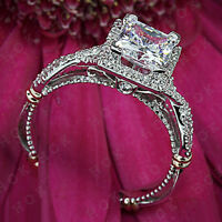 Vintage Style Halo Princess Cut Diamond Engagement Wedding Ring Set 10k Gold
