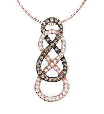 Chocolate Brown & White Diamond Pendant 10K Rose Gold Double Infinity .25ct