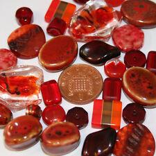 100g variety mixed beads. various sizes light dark red jewellery making