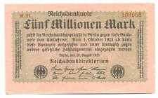 Germany Weimar Republic Reichsbanknote 5 Millionen Mark 20.8. 1923 VF #104b