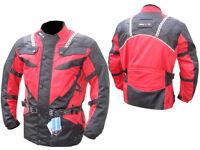 Men,s Motorcycle Motorbike Armoured waterproof Cordura Textile Jacket RED