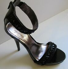 Womens Black 8.5 Med B ankle strap Sandals Dressy Rhinestones Unlisted party