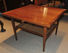 Mid-Century Antique Maple Coffee Table – chic retro square, cane shelf